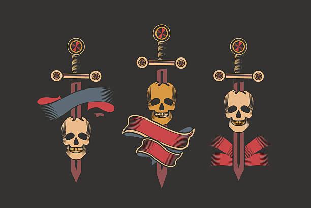 Dagger tattoo stock illustrations