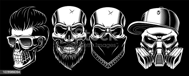 Set of vintage skulls 2