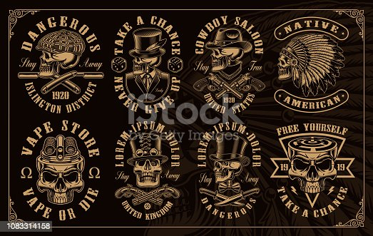 Set of vintage skulls in different styles such as western, gangster, vaping and other. All elements colours, text, are on the separate groups.