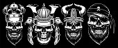 Set of vintage black and white skulls with king, samurai, viking and pirate. Isolated on dark background.