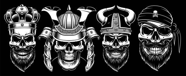 Set of vintage skulls. Set of vintage black and white skulls with king, samurai, viking and pirate. Isolated on dark background. skulls tattoos stock illustrations