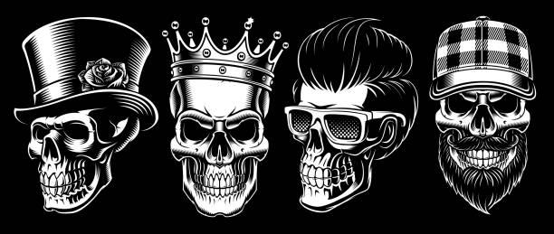 set of vintage skulls - gangster stock illustrations, clip art, cartoons, & icons
