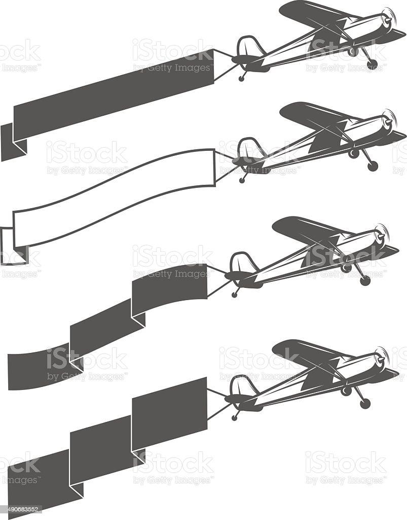Set of vintage small aircraft dragging blank ribbon vector art illustration