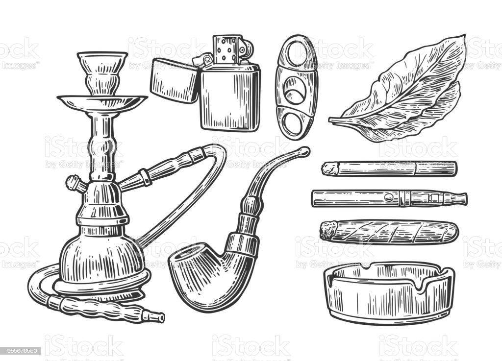 Ilustración de Conjunto De Elementos De época Fumar Tabaco Estilo ...