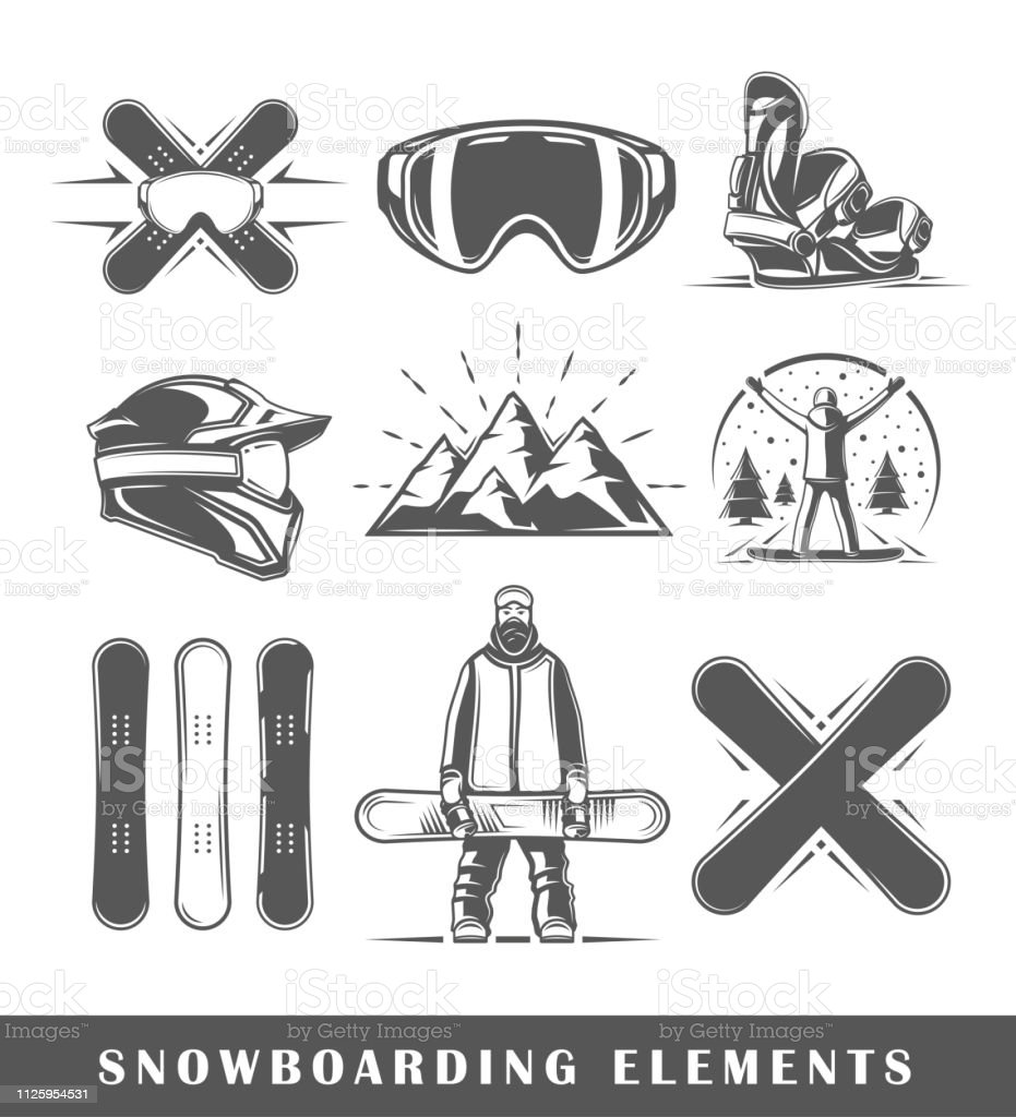 Set of vintage snowboarding labels. Posters, stamps, banners and...