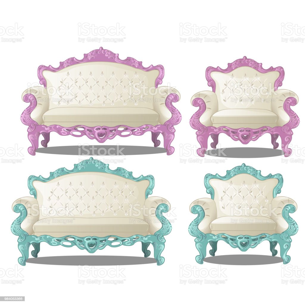 Set of vintage sofas and chairs. Furniture for interior vintage style  isolated on a white - Set Of Vintage Sofas And Chairs Furniture For Interior Vintage Style