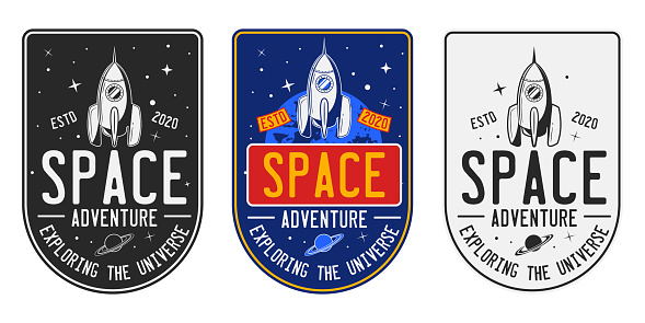 Set of vintage space badges, logos, labels. Retro Space sign with rocket or spaceship in 3 different styles. Vector illustration