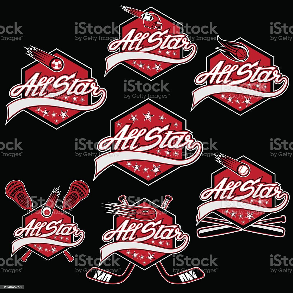 set of vintage sports all star crests vector art illustration