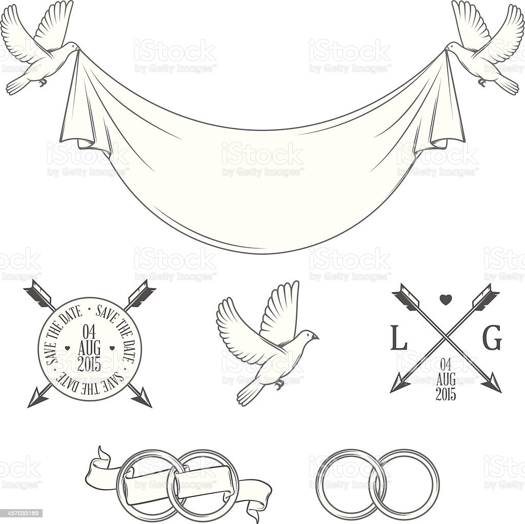 Set of vintage stamps and wedding invitation design elements vector art illustration