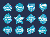 Set of vintage stickers, patches. Sport and Run badges, templates, emblems, stamps. Collection of retro s with hand-drawn text and phrases. Vector illustration