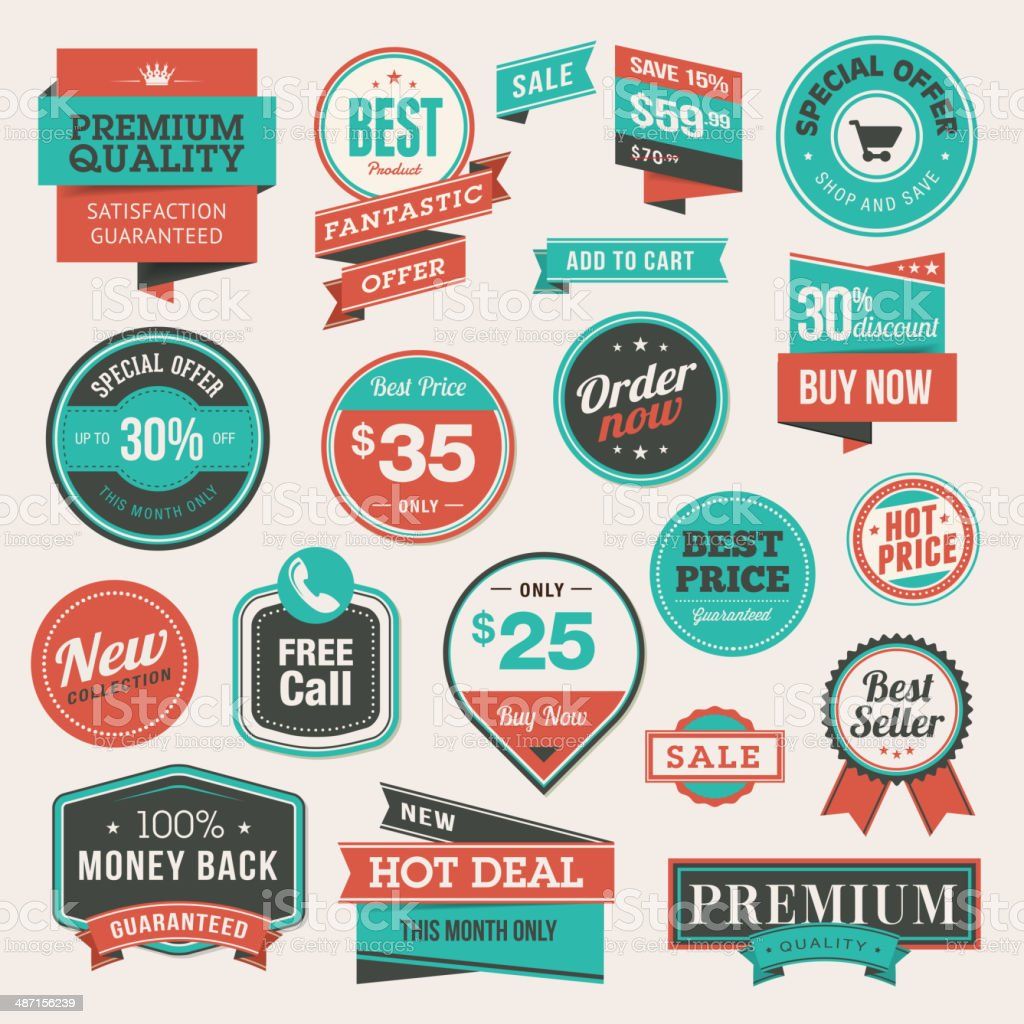 Set of vintage style badges and stickers vector art illustration