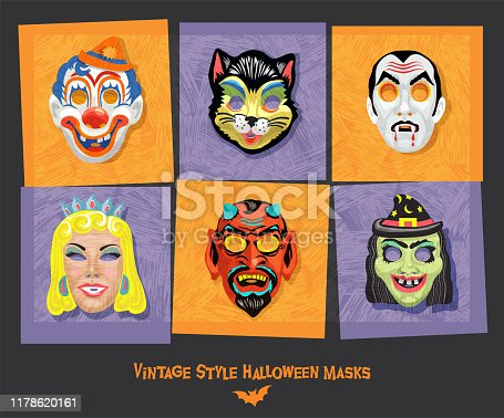 Set of vintage style halloween masks including clown, cat, vampire, witch, and devil. Design elements for posters, stickers, greeting cards. Vector Illustration.