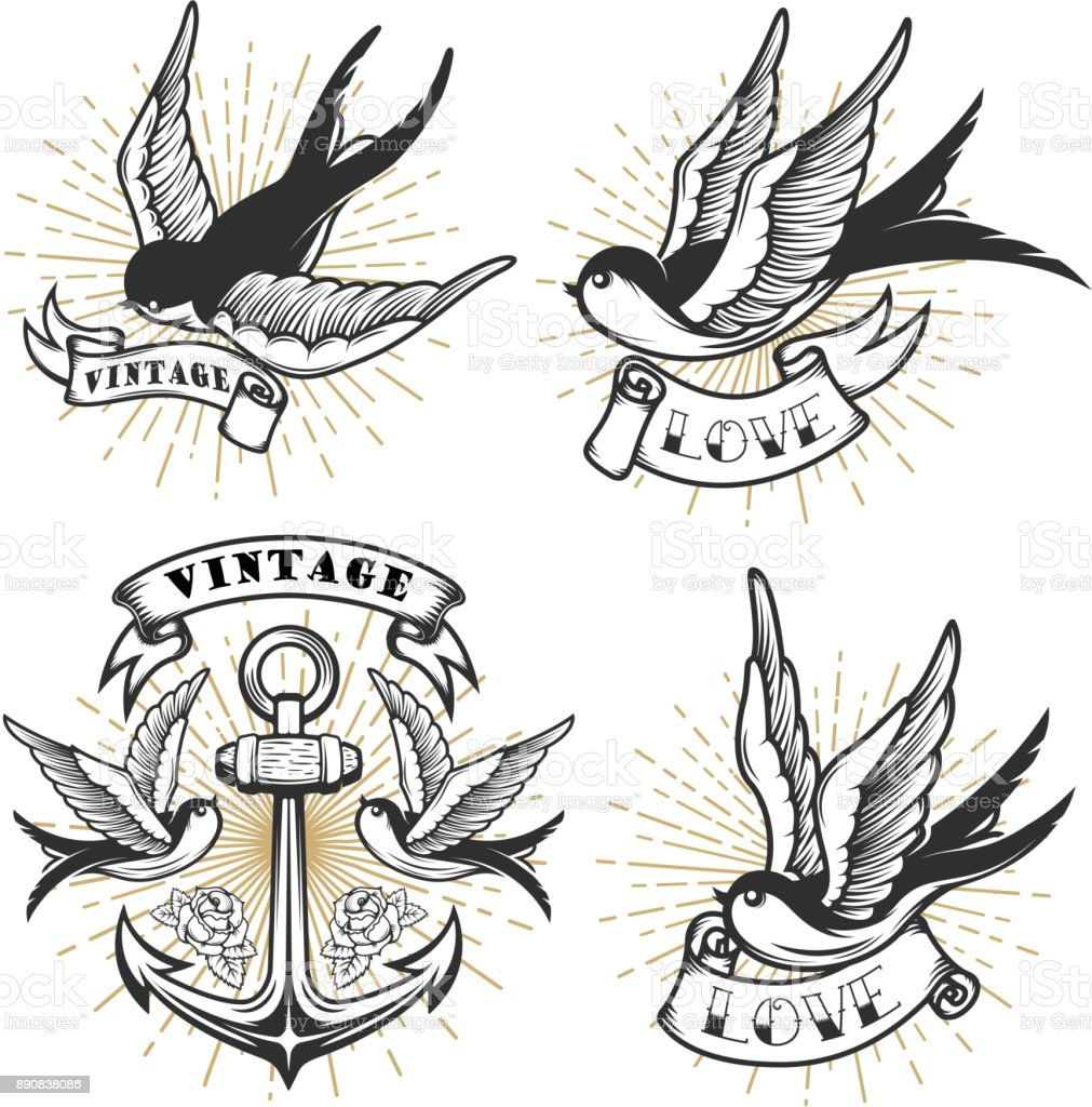 Set of vintage style tattoo with swallow birds, anchor isolated on white background. vector art illustration