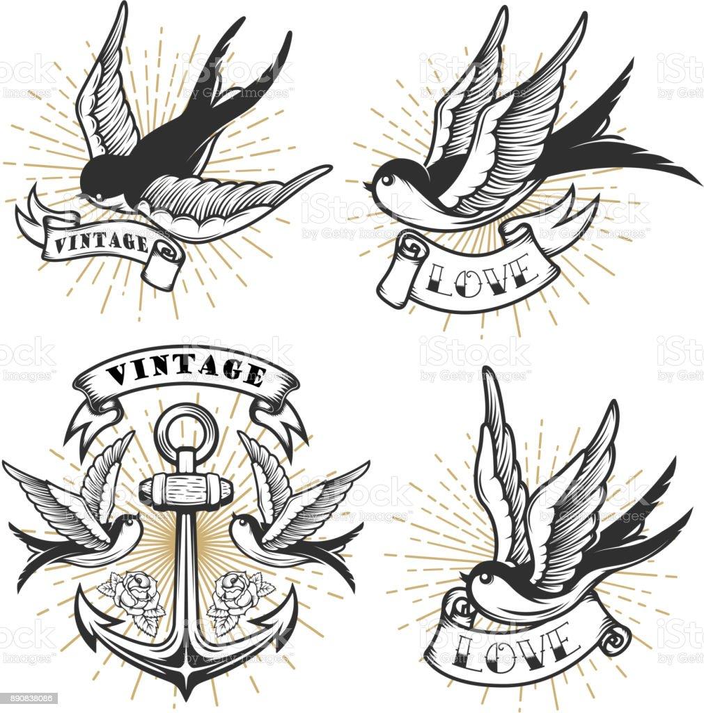 Satz von Vintage-Stil Tattoo mit schlucken Vögel, Anker isoliert auf weißem Hintergrund. – Vektorgrafik