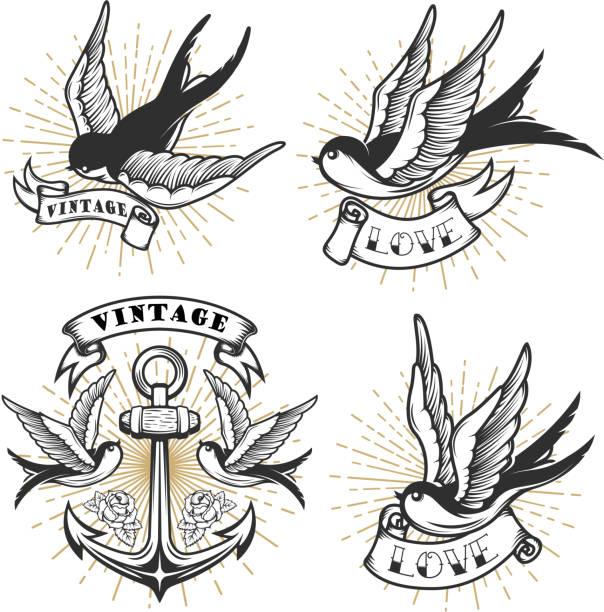 illustrations, cliparts, dessins animés et icônes de ensemble de tatouage de style vintage avec des oiseaux de l'hirondelle, ancre isolé sur fond blanc. - tatouages