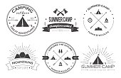 Set of vintage summer camp badges and other outdoor logos, emblems and labels