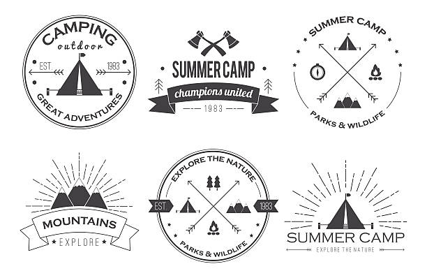 Set of vintage summer camp badges and logos Set of vintage summer camp badges and other outdoor logos, emblems and labels adventure borders stock illustrations