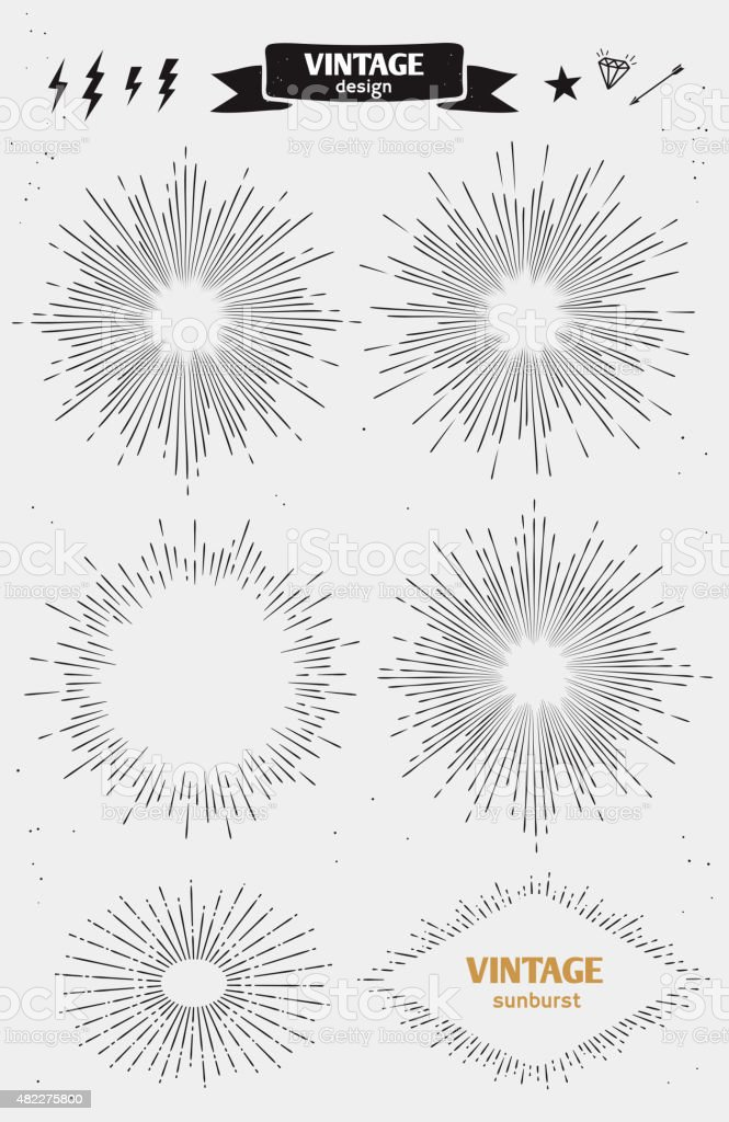 Set of Vintage Sun Burst. Vector monochrome starburst vector art illustration