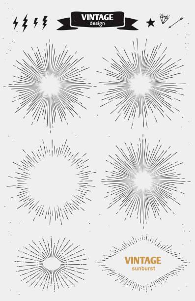 stockillustraties, clipart, cartoons en iconen met set of vintage sun burst. vector monochrome starburst - houtgravure