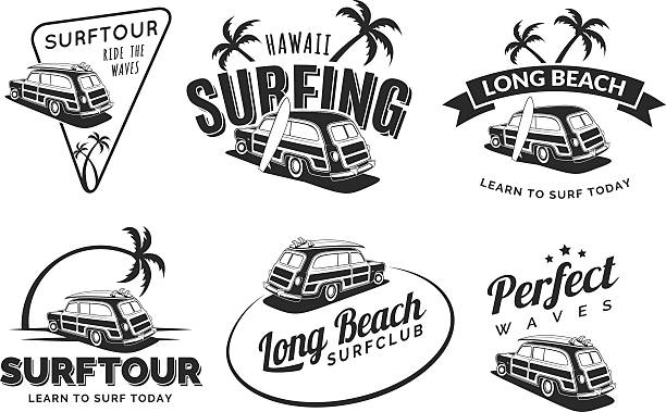 Set Of Vintage Surfing Car Labels Vector Art Illustration Summer Jeep On Beach