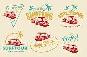 Set of vintage surfing car labels, badges and emblems. Old school car with surfboard.
