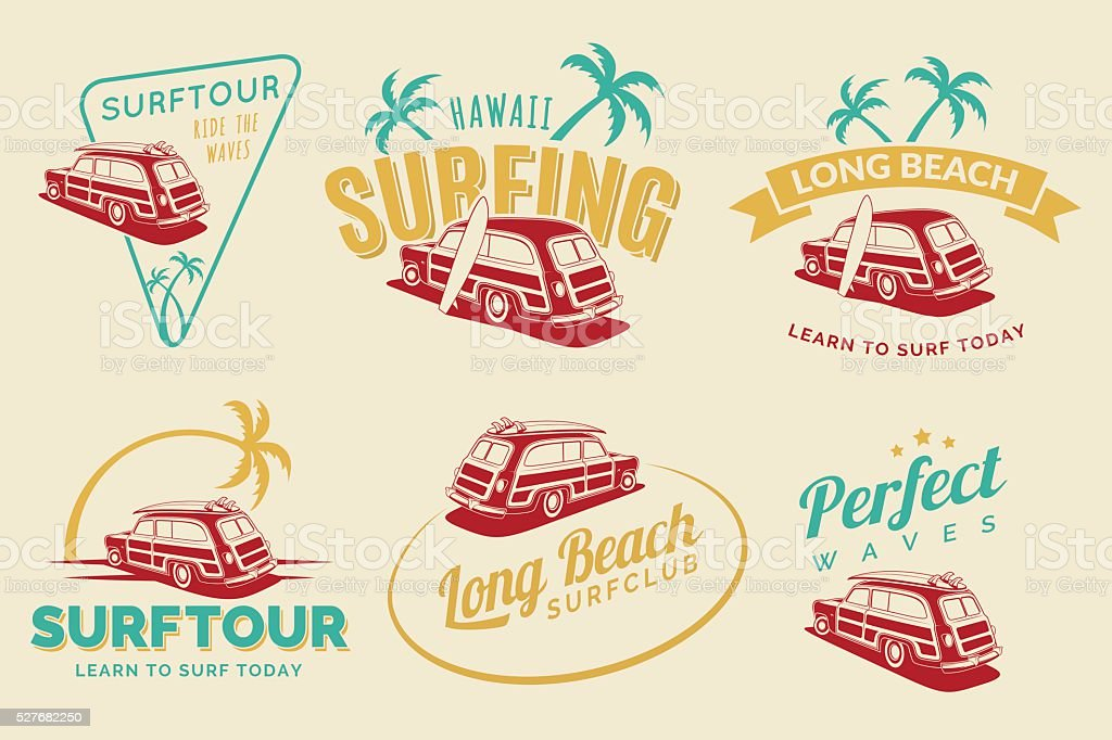 Set of vintage surfing car labels vector art illustration