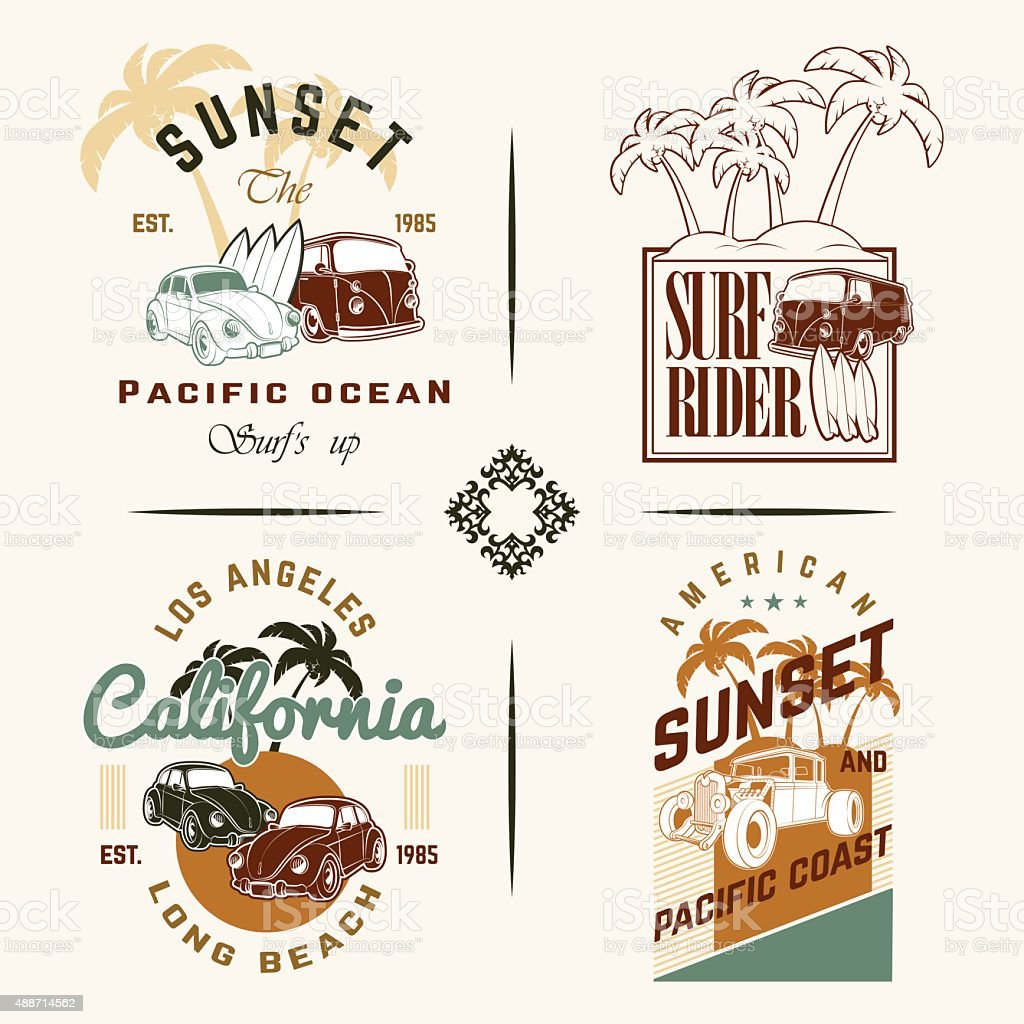 cdb2c05e969 Set Of Vintage Surfing Graphics And Emblems Stock Vector Art   More ...