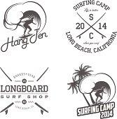 Set of vintage surfing labels and badges.