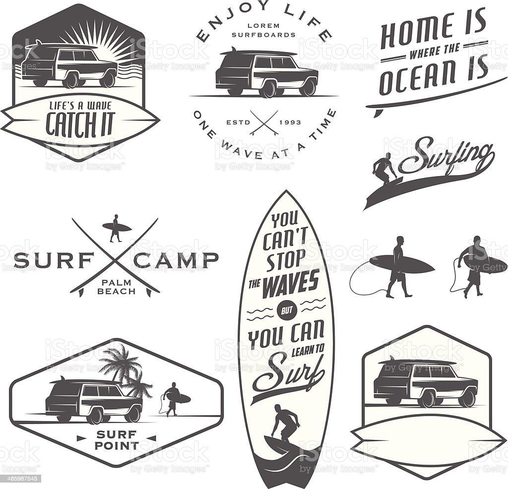 Set of vintage surfing labels and badges vector art illustration