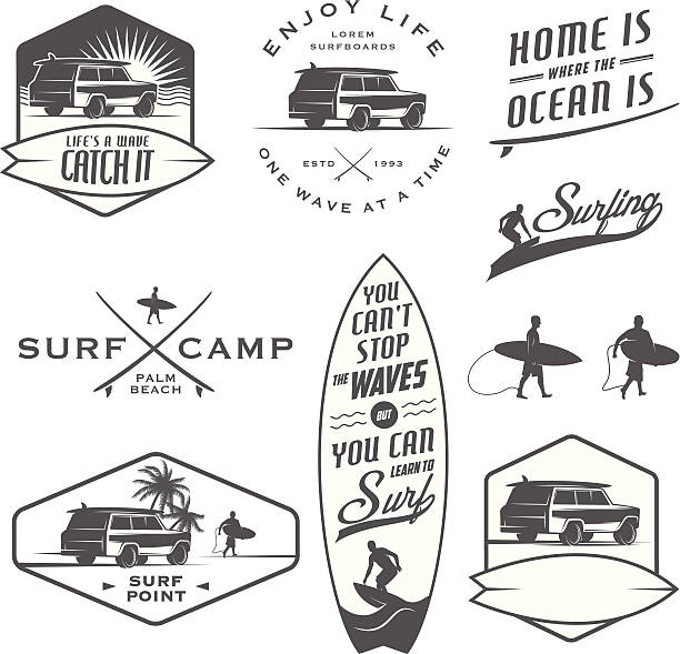 Set of vintage surfing labels and badges Set of vintage surfing labels, badges and design elements. surf stock illustrations