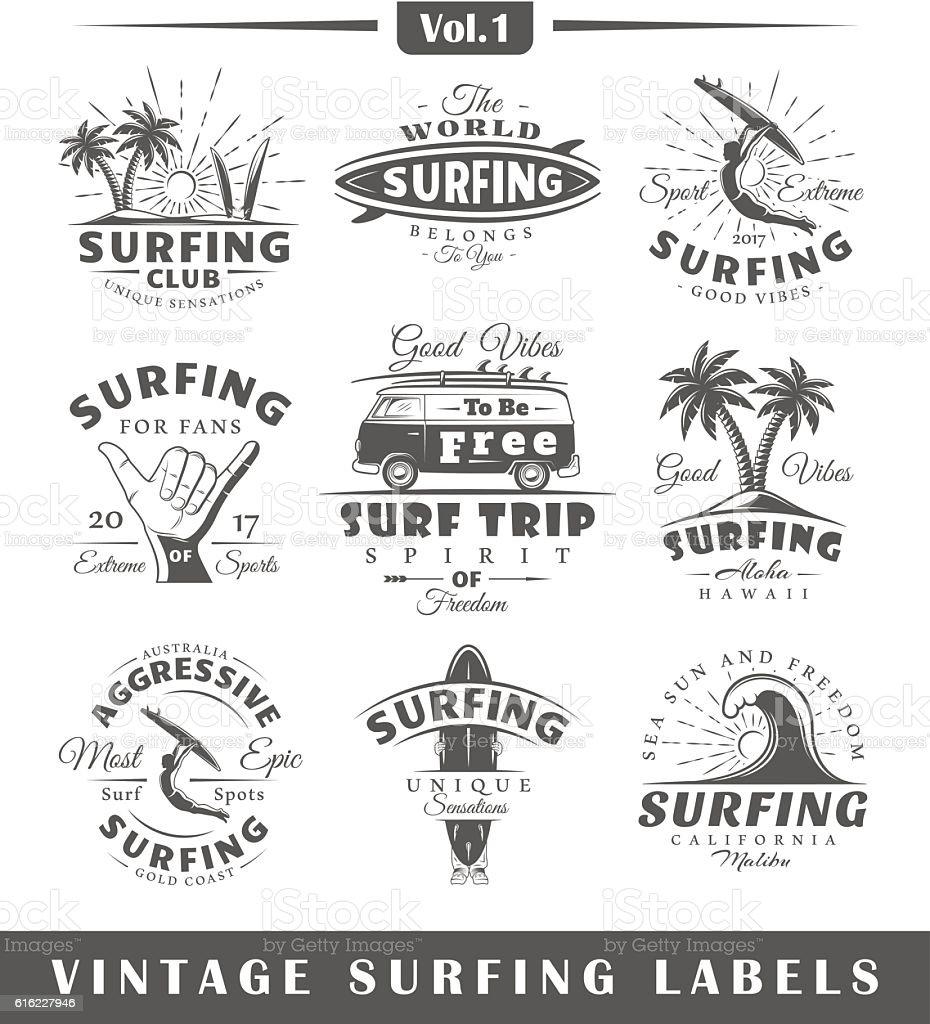 Set of vintage surfing labels. Vol.1 vector art illustration