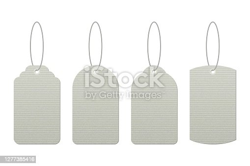 istock Set of vintage tags with strings vector design isolated on white background 1277385416