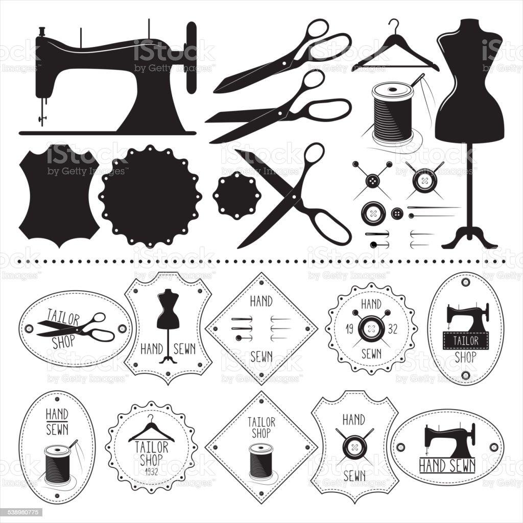 Set of vintage tailor emblems and elements vector art illustration