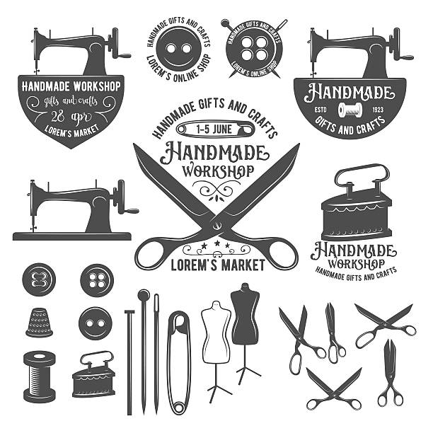 stockillustraties, clipart, cartoons en iconen met set of vintage tailor labels, badges and design elements - op maat gemaakt