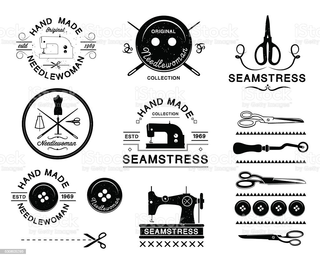Set of vintage tailor labels, logo and designed elements. vector art illustration