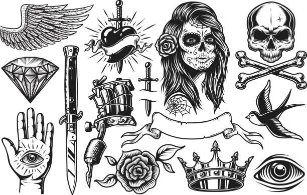 illustrations, cliparts, dessins animés et icônes de ensemble d'éléments vintage tatouage - tatouage