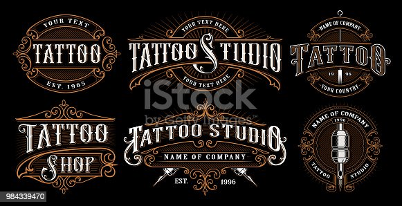 Set of vintage tattoo emblems, symbols, badges, shirt graphics. Tattoo lettering illustration. All elements, text are on the separate layer.