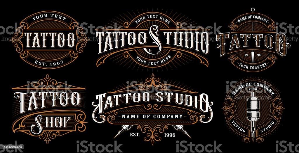 set of vintage tattoo emblems vector art illustration