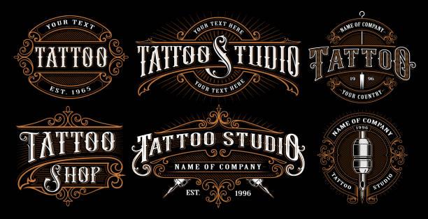 ilustrações de stock, clip art, desenhos animados e ícones de set of vintage tattoo emblems - tatuagem