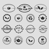 Set of vintage tea logos