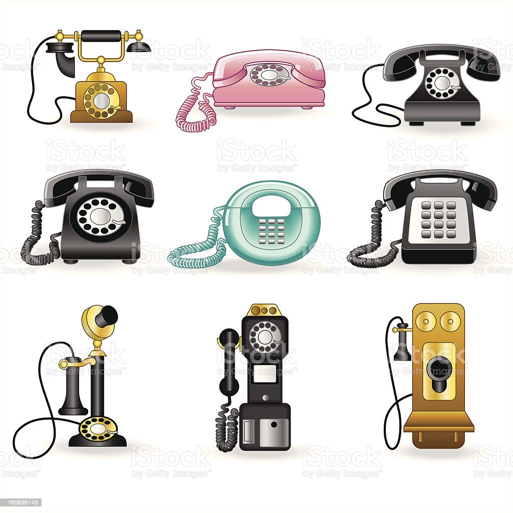 A set of vintage telephones on a white background royalty-free stock vector art