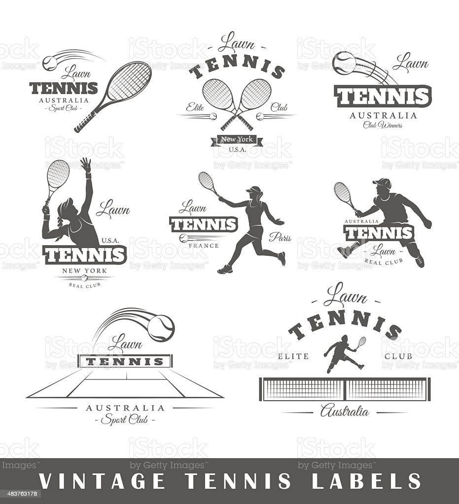 Set of vintage tennis labels vector art illustration