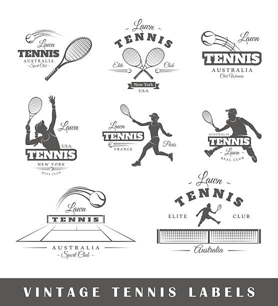 set of vintage tennis labels - tennis stock illustrations, clip art, cartoons, & icons