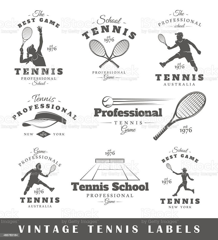 Set of vintage tennis labels vector art illustration