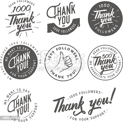 Set of vintage Thank you badges, labels and stickers.