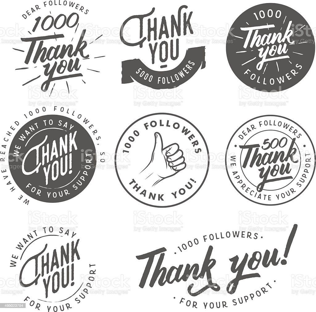 Set of vintage Thank you badges, labels and stickers vector art illustration