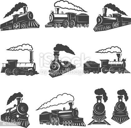 Set of vintage trains isolated on white background. Design element for label, brand mark, sign, poster. Vector illustration