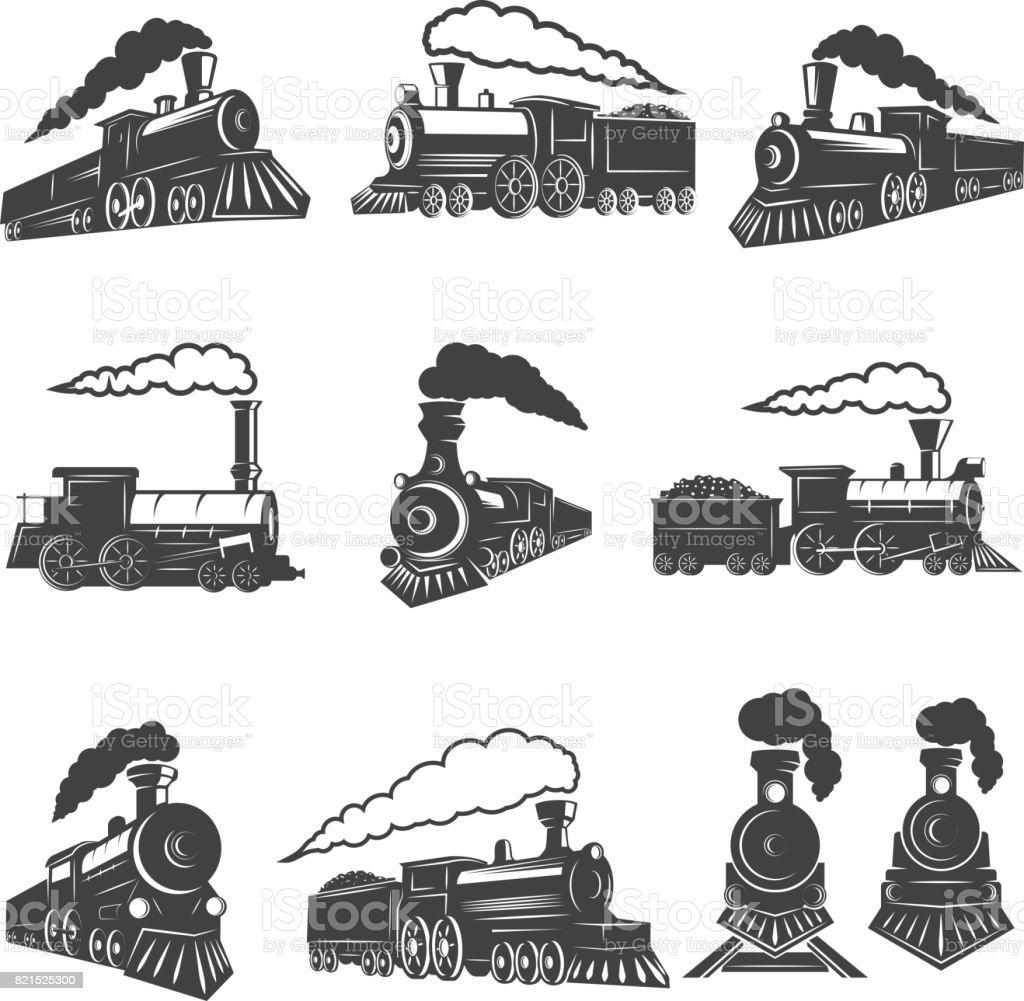 Satz von alte Eisenbahnen isoliert auf weißem Hintergrund. Gestaltungselement für Label, Marke, Zeichen, Poster. Vektor-illustration – Vektorgrafik