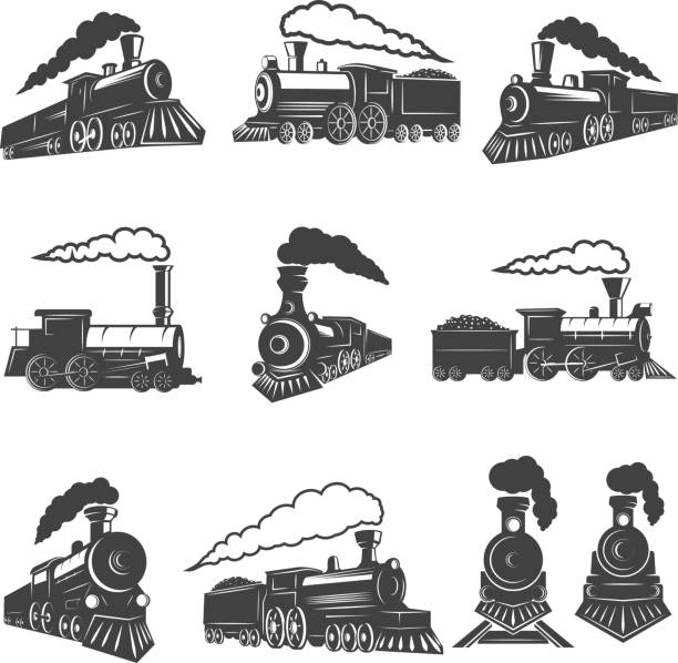 set of vintage trains isolated on white background. design element for label, brand mark, sign, poster. vector illustration - train stock illustrations, clip art, cartoons, & icons