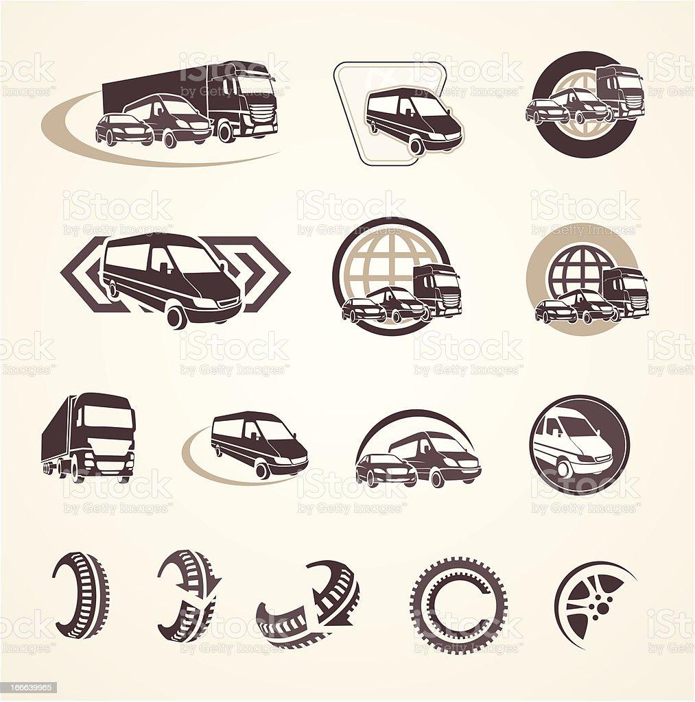 Set of vintage transport icons vector art illustration